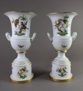 Pair Of Herend Porcelain Urn Vases