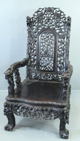 Chinese Carved Hardwood Throne Chair