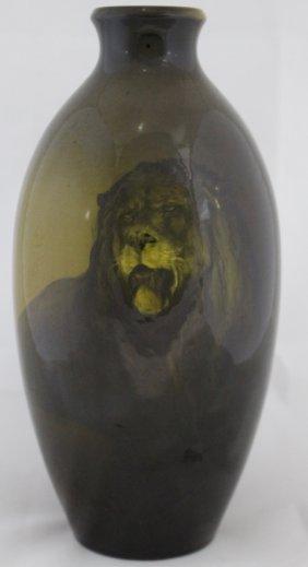 Rookwood Lion Vase By Kataro Shiriyamadani