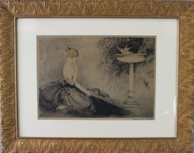 """Louis Icart, Dry Point Etching """"wistfulness"""""""