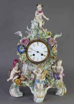Meissen Porcelain Case Mantle Clock