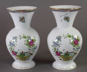 Pair Of Herend Porcelain Vases