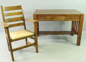 Two Pieces Mission Oak, Library Table & Armchair