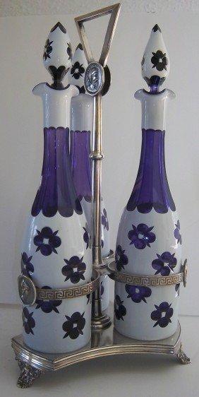 Ca1900 Cased Glass Cruet Set W/ Pairpoint Holder