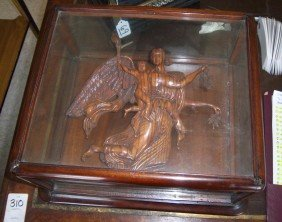 Mid 19th C. Yew Wood Carving Of Winged Angel