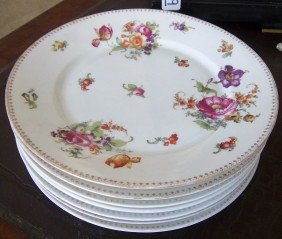 "Set Of 6 Czech Floral Paint Decortaed 10"" Plates"