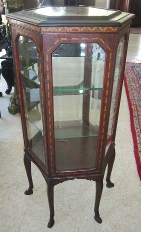 Walnut Inlaid 6 Leg Center Curio Cabinet