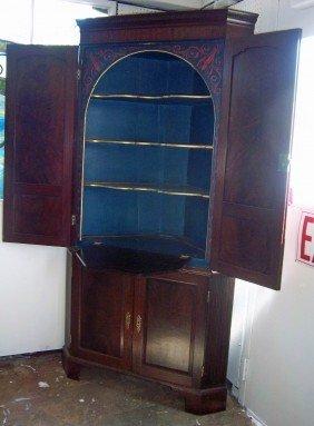 Ea. 19th C. Mahogany Corner Cabinet