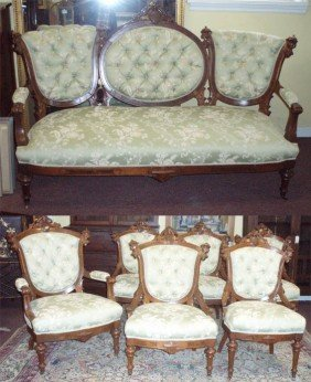 Renaissance 7 Pc. Burled Walnut Parlor Set