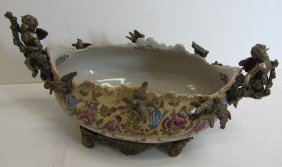 20th C. Porcelain Bowl With Bronze Cupids