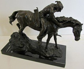20th C. Bronze Of Indian On Horseback