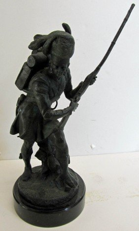20th C. Bronze Of Soldier On Marble Base