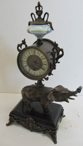 20th C. Bronze Mantle Clock With Elephant