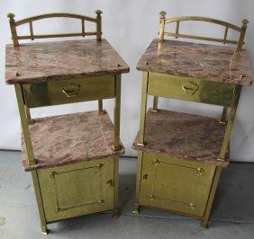 Pr. C1900 Bronze And Marble Nightstands