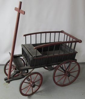 Unusual Paint Decorated Pony Cart
