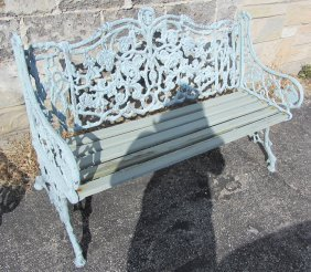 Pair Of 20th C. Fancy Exterior Garden Benches
