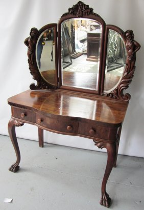 19th C. Mahogany Vanity With Ladies By Karpen