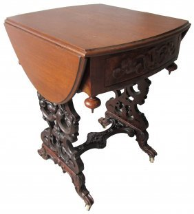 19th C. American Victorian Drop Side Sewing Stand