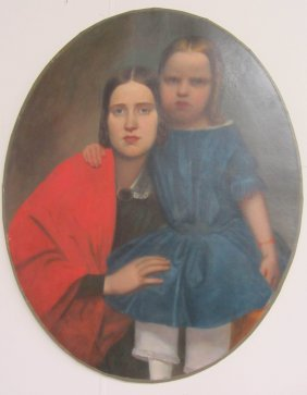 19th C. Oil On Canvas Of Mother And Child