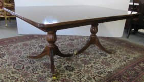 20th C. Mahogany Banded Inlaid Diningroom Table