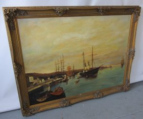 Large Harbor Scene Painting