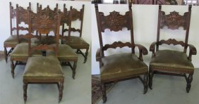 C1890 Set Of 8 Quartersawn Oak Chairs