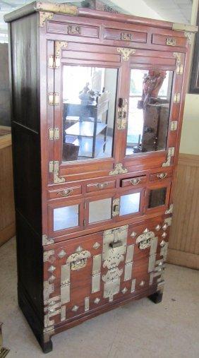 Ea. 19th C. 2 Part Rosewood Korean Cupboard