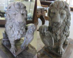 C1900 Large Sandstone Lions