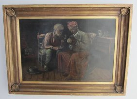 20th C. Signed Harry Roseland Oil On Canvas