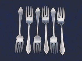 Set Of Six Sterling Silver Pastry Forks