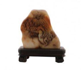 Chinese Nineteenth-century Shou Shan Soapstone Carved M