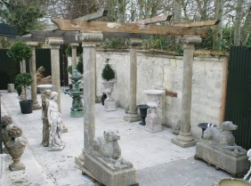 Large Carved Stone Pergola