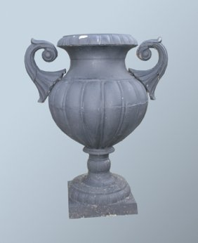 Pair Of Large Cast Iron Garden Urns