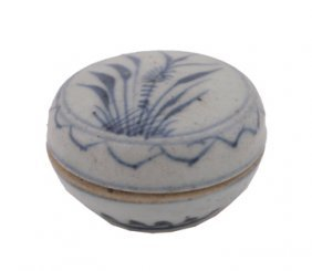 Chinese Qing Dynasty Blue And White Ink Pot