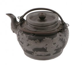 Chinese Yixing Pewter Overlaid Dragon Tea Pot
