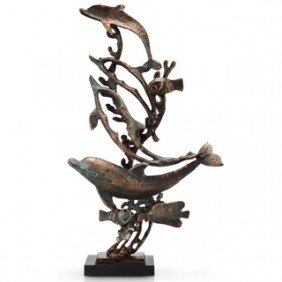 DOLPHIN & FISH CAST IRON SCULPTURE