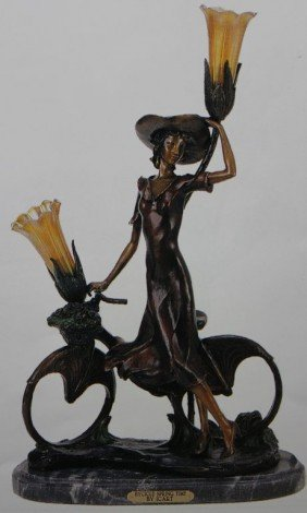 """THE BICYCLE SPRING TIME"" BRONZE SCULPTURE LAMP"