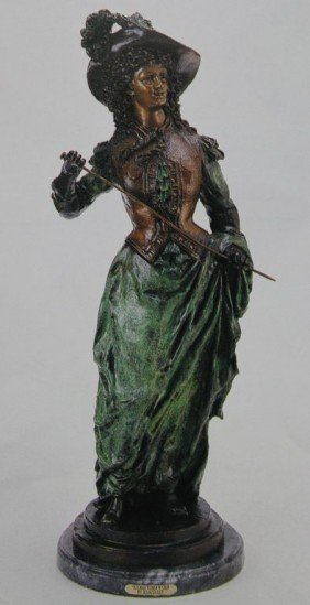 """VICTORIAN WOMAN WITH CROP"" BRONZE SCULPTURE -"