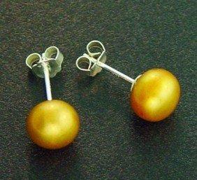7 MM GOLD PEARL STUD EARRINGS