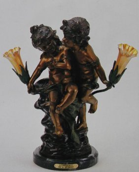 """CONFIDENCE"" BRONZE SCULPTURE LAMP - A. MOREAU"