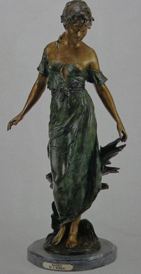 """MAIDEN"" BRONZE SCULPTURE - A. MOREAU"