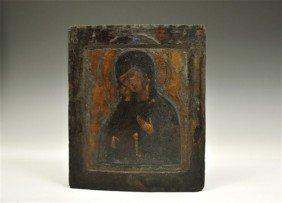 Post Medieval Virgin Of Vladimir Painted Icon