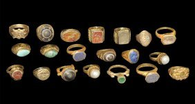 Bedouin Silver Gilt Ring Group