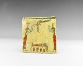 Egyptian Cartonnage With Osiris Mourning Scene