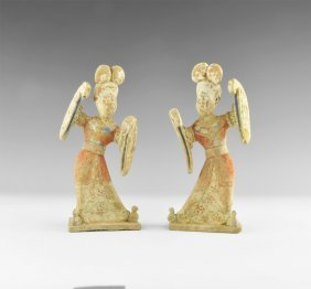 Chinese Dancer Figurine Pair