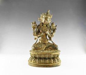 Tibetan Gilt Manjushri Figure