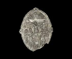Post Medieval Book Mount With Crucifixion Scene