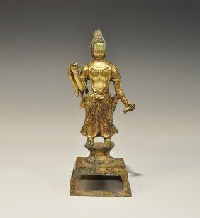 Chinese Style Gilt-bronze Bodhisattva Statuette