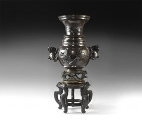 Japanese Bronze Vase With Stand