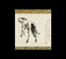 Chinese Horse Ink And Watercolour Painting On Paper